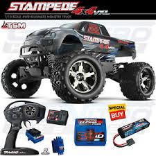 Details About Traxxas 1 10 Stampede 4x4 Vxl Brushless Tsm 4wd Rtr Truck Silver W Lipo Charger