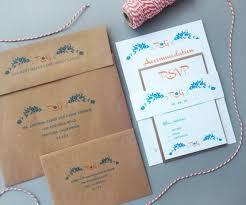 orange and turquoise wedding invitations. orange and turquoise with kraft envelopes - rustic wedding invitations floral design monogram deposit #2289209 weddbook i