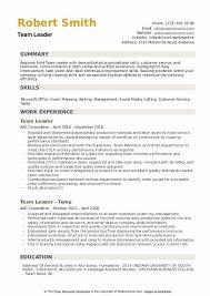 Team Skills Resume Team Leader Resume Samples Qwikresume