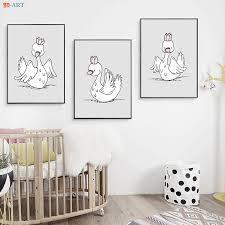Nursery Prints <b>Cartoon</b> Poster Royal Swan Canvas Painting Wall ...
