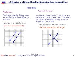 parallel lines two lines are parallel if there slopes are equal and they have diffe y