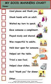 Free Printable Table Manners Chart Manners Chart More