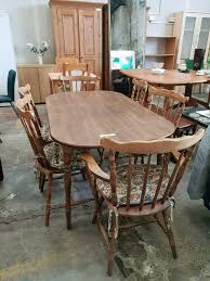 dark wood dining table with 6chairs