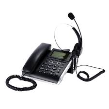 hf700 2 in 1 business telephone call center headset phone handsfree desk headphone caller id telephone