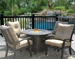 barbados cushion fire pit outdoor patio 5pc dining set for 4 person with 42 round fire table series 7000 antique bronze finish