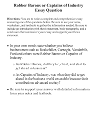 robber barons or captains of industry essay question directions