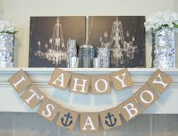 Ahoy It's a Boy baby shower banner, nautical theme, baby shower, sign,