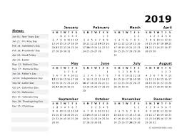 2019 Year Calendar Template With Us Holidays Free