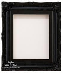 black swept ornate deep box frame 12x10 black 1 mount white back