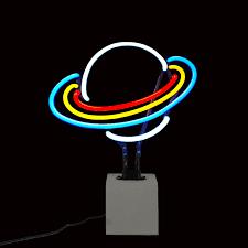 Planet Neon Light Planet Saturn Neon Light Concrete Base