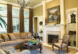 Grand Black Iron Chandelier Also White Fireplace Added Brown Living Room  Sets As Well As Brown Curtain Windows In Small Living Space With Den  Decorating ...