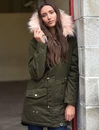 teegan parka jacket in khaki with detachable peachy keen fur hood tokyo laundry