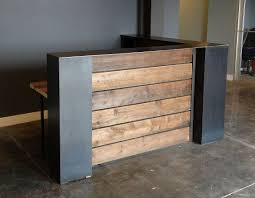 Stained pine and steel point of sale counter or reception desk.sales counter  or reception