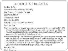Thank You For The Hard Work Letter Appreciation Letter For Good Work Sample Performance