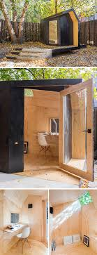 prefab backyard office. Black Stained Cedar And Natural Pine Plywood Make Up The Exterior Interior Of This Writers Shed Located On A Concrete Plinth In Backyard Prefab Office