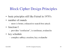 Block Cipher Design Principles Ppt Chapter 3 Modern Block Ciphers And The Data