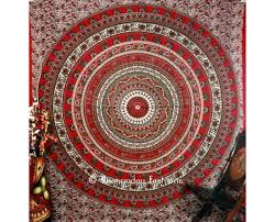 red handlook peacock style psychedelic boho tapestry wall hanging