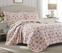 3pc laura ashley cadence full queen quilt and pillow shams set new