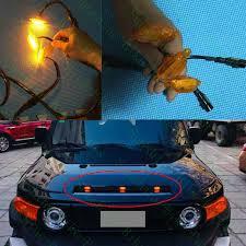 <b>3PCS</b> For Toyota FJ Cruiser 2008 2017 Car Front Grille <b>Yellow LED</b> ...