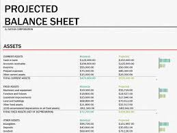 balance sheet template projected balance sheet office templates