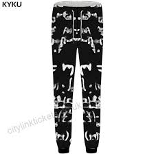 Character Pants Kyku Brand Character Pants Men Black Blurry Sweatpants