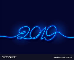 Light Neon Blue 2019 Happy New Year Neon Blue Light Background