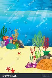 Underwater Habitat Design Vector Cartoon Illustration Underwater Reef Habitat Stock