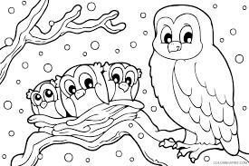 Winter day mini book printed: Winter Coloring Pages Snowy Owl Coloring4free Coloring4free Com