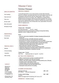 Kitchen Manager Resume Example Sample Cooking Food