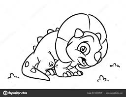 Dinosaure Triceratops Coloriage Page Caricature Illustrations