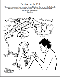 Small Picture Adam and Eve Coloring page script and Bible story http