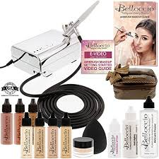 belloccio professional beauty deluxe airbrush cosmetic makeup system with 4 fair shades of foundation in 1