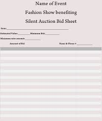 Silent Auction Bid Sheet Template Word Bid Sheet Templates For Silent Auction In Word Excel Pdf Format