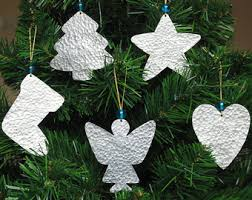 Silver Christmas Ornaments - Metal Christmas Tree Decor - 5 Handmade  Cottage Chic Christmas Decorations -