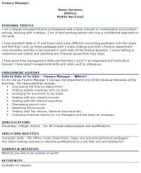 Good Qualifications For A Job Finance Manager Cv Example Icover Org Uk