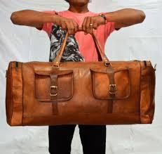 bag men s genuine leather luggage gym weekend overnight duffle bag vintage large 716337226135