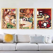 Famous artist hand painted oil painting 3 piece pictures kiss for bedroom  canvas art modern copy oil painting reproduction -in Painting & Calligraphy  from ...