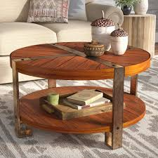brown contemporary round wood maple coffee table living room varnished chandelier