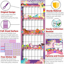 How To Make A Potty Training Chart Potty Training Chart For Toddlers Unicorn Theme Sticker Chart Celebratory Diploma Crown And Book 4 Week Potty Chart For Girls And Boys