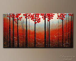 canvas paintings for sale. Red Blossom-Paintings For Sale Wall Art|Modern Original Canvas Art|Trees Art Painting Paintings A