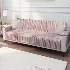 pink quilted cotton 3 seater sofa cover