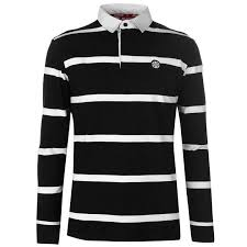 details about zukie mens striped rugby shirt long sleeve black white collar 1 4 btn uk size l