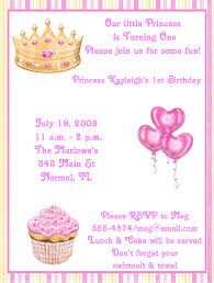 Invitation Words For Birthday Party Princess Birthday Party Invitation Wording 1st Pink
