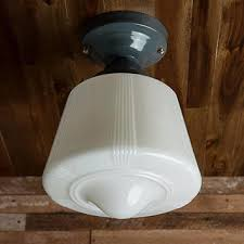 vintage rewired art deco semi flush mount ceiling light fixture milk glass shade brass grey gray
