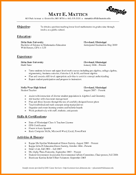 Math Tutor Resume Awesome Math Teacher Resume Examples Free