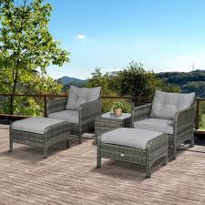 outsunny 5 piece rattan wicker outdoor