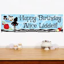 happy birthday customized banners alice in wonderland large custom banner 5ft