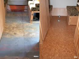 trailer flooring cork tiles before after sand marble