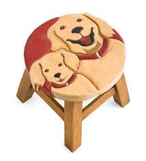 hand carved wood golden retrievers footstool