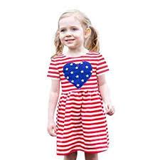 Infant Baby Toddler Girl <b>Summer Dress</b> Short Sleeve 4th of <b>July</b> Star ...